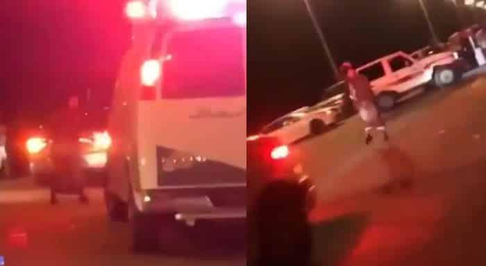 سعودي يرقص أمام سيارة إسعاف
