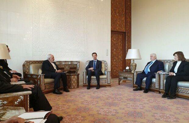 ظريف يلتقي بشار الأسد