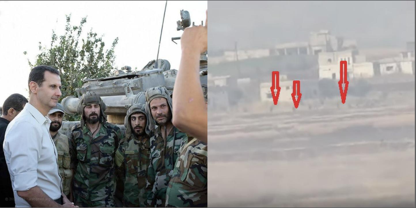 بشار الأسد مع عناصر جيشه ورجال يفرون من ريف حماة