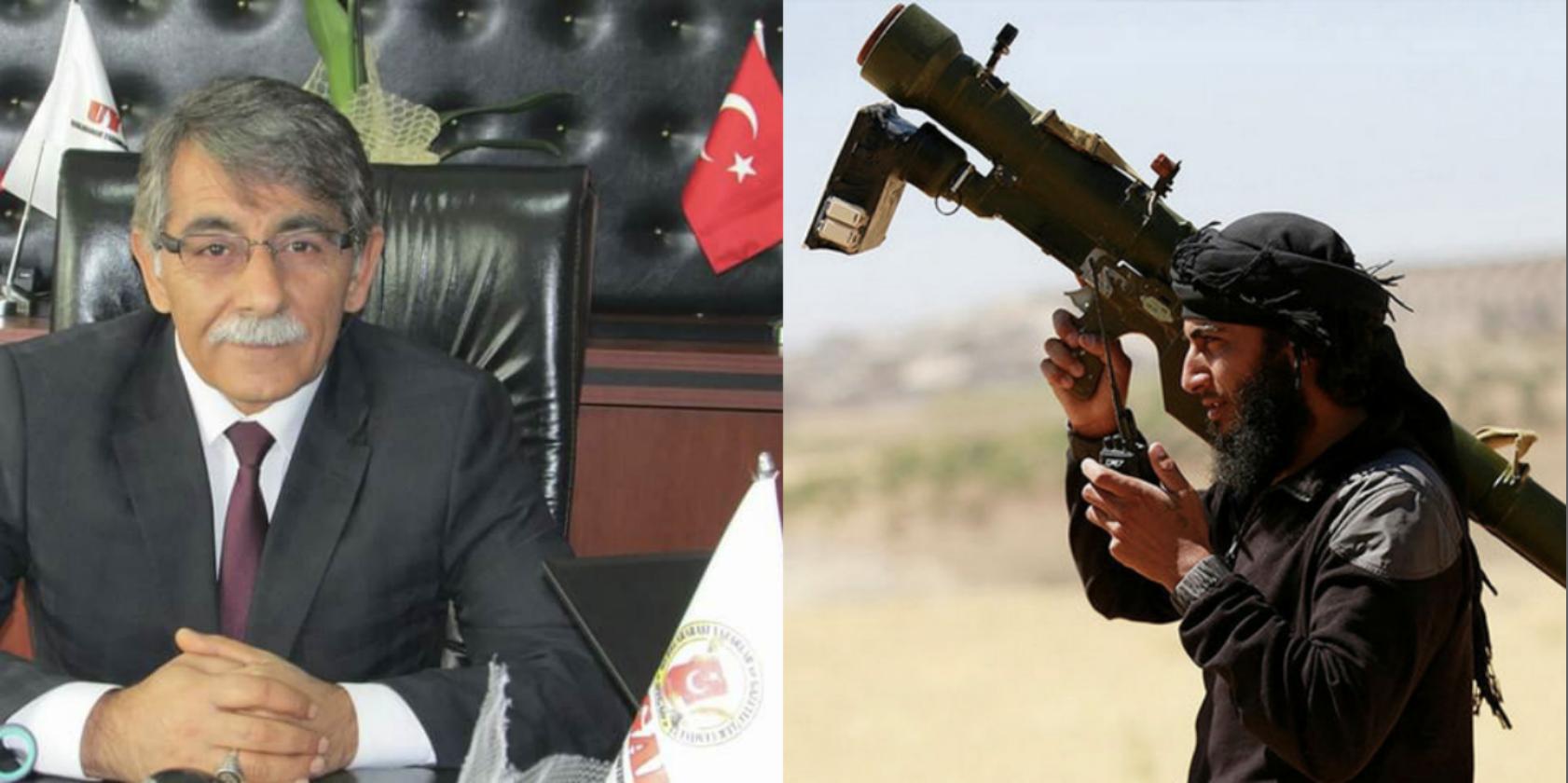 الدكتور محمد جانبكلي ومقاتل من المعارضة يحمل مضاد طيران