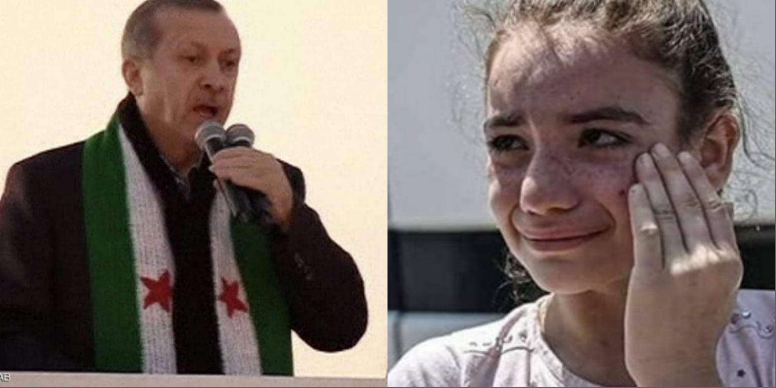 أردوغان يرتدي علم الثورة ولاجئة سورية مرحلة من إسطنبول