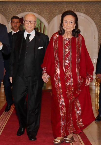 الرئيس التونسي السابق الباجي قايد السبسي وزوجته شاذلية