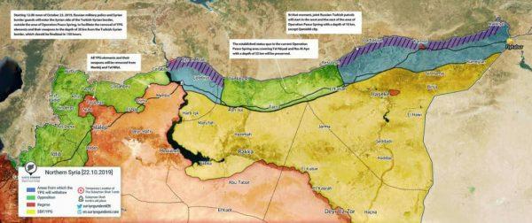 صورة نشرها موقع تركي لخريطة المنطقة الآمنة وفق الاتفاق التركي الروسي