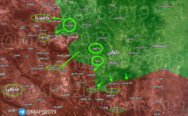 خريطة توضح مكان العمليات العسكرية في ريف اللاذقية الشمالي
