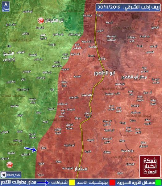 خريطة لتوزّع السيطرة في ريف إدلب الشرقي حتى اليوم السبت