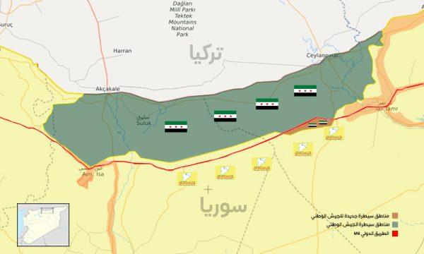 خريطة ميدانية توضح السيطرة العسكرية في ريفي الحسكة والرقة شمال شرقي سوريا- 18 من تشرين الثاني 2019