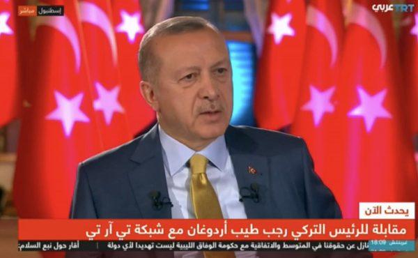 صورة من مقابلة الرئيس التركي رجب طيب أردوغان مع هيئة الإذاعة التركية