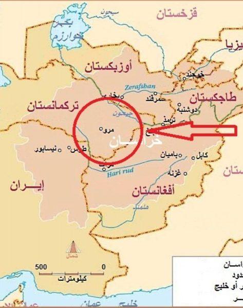 خريطة لموقع مرو وهي أول مكان رفعت فيه رايات العباسيين من قبل أبو مسلم الخراساني
