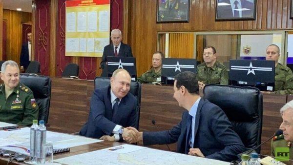 صورة نشرتها روسيا اليوم لبوتين وبشار الأسد