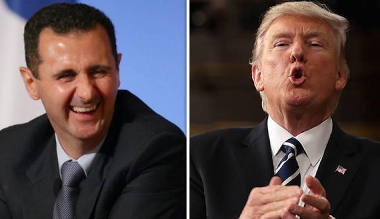 الرئيس الأمريكي دونالد ترامب وبشار الأسد (إنترنت)