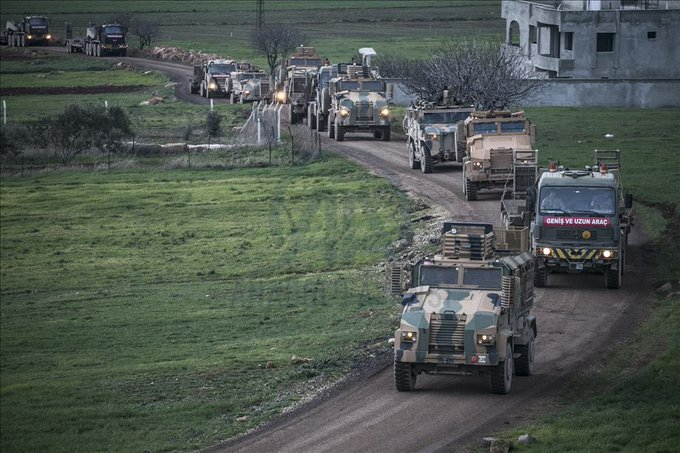 صورة نشرتها وكالة الأناضول التركية للأنباء لتعزيزات جديدة للجيش التركي دخلت سوريا خلال الأيام الماضية