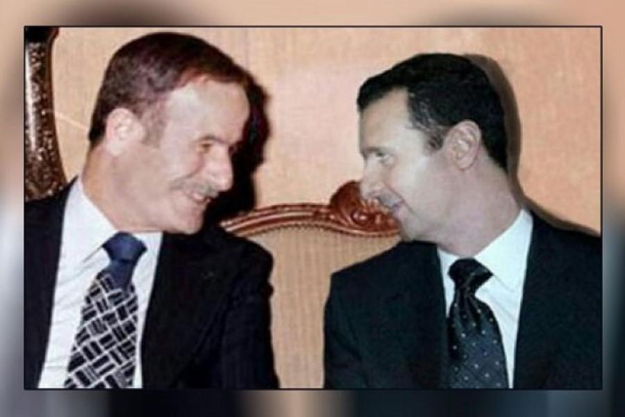 بشار الأسد ووالده حافظ - أرشيف