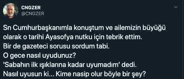 تغريدة الصحفي التركي جنكيز ار - آيا صوفيا