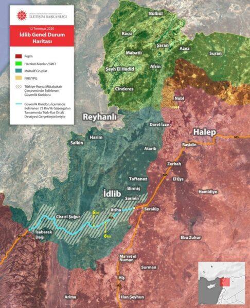 خريطة السيطرة في إدلب - دائرة الاتصال التركية