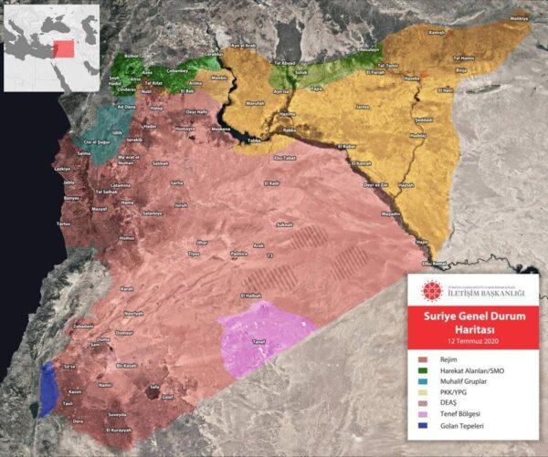 خريطة السيطرة في سوريا - دائرة الاتصال التركية