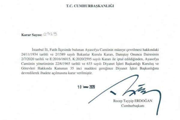 قرار رئاسي من أردوغان بتحويل آيا صوفيا إلى مسجد - رئاسة الجمهورية التركية