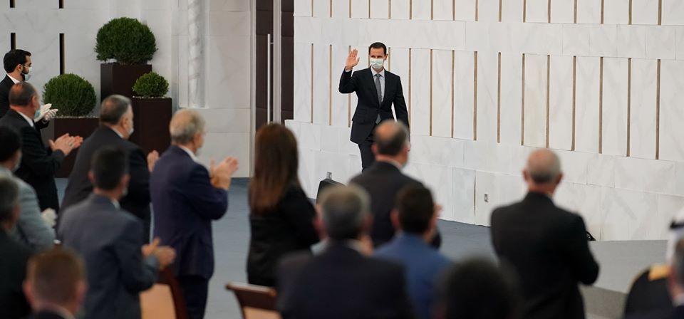 صورة نشرتها الرئاسة السورية من كلمة بشار الأسد أمام مجلس الشعب
