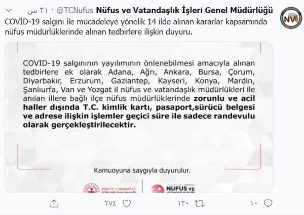 مديرية النفوس في تركيا - تويتر