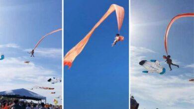 Photo of تايوان.. فيديو يظهر طائرة ورقية تسحب طفلة لأمتار مرتفعة في الهواء بسبب الرياح