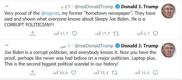 ترامب يصف جو بايدن بالفـ.اسـ.د - تويتر