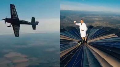 "Photo of شاب يُلقي التحية على طائرة من أعلى بالون ضخم ""فيديو"""