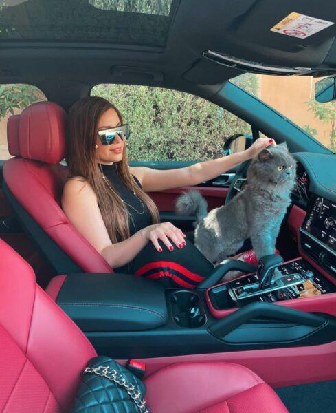 نسرين طافش في سيارتها