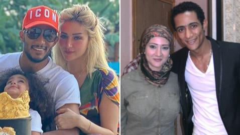 محمد رمضان مع زوجتيه