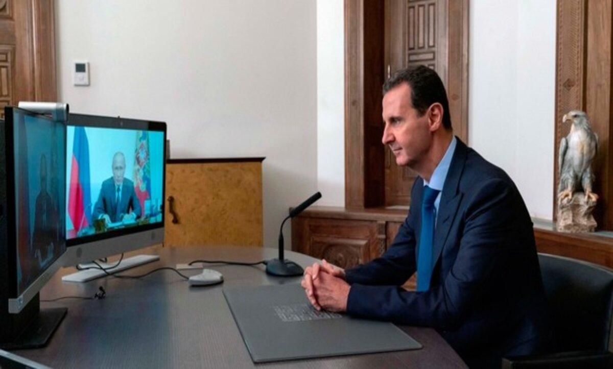 بشار الأسد وفلاديمير بوتين في لقاء عن بعد