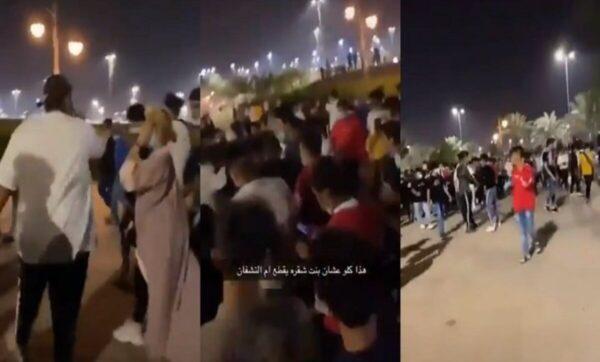 عشرات السعوديين يتجمعون حول حسناء شقراء ويتسابقون لرؤيتها (فيديو)