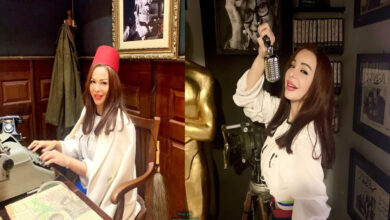 Photo of سوزان نجم الدين تهنئ الفنان الفلسطيني هشام سليمان من داخل متحف السينما المصرية (صور)