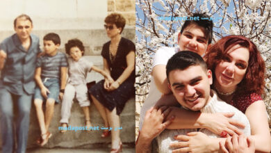 Photo of سلاف فواخرجي تنشر صورة من طفولتها وأخرى مع ولديها حمزة وعلي (صور)