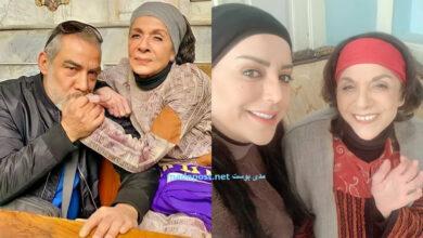 Photo of سامية الجزائري محاطة بحب واهتمام فريق تمثيل الكندوش، وأيمن رضا يقبل يدها (صور)