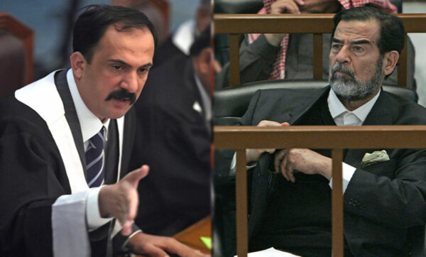 صدام حسين حاضراً في مجلس عزاء القاضي الذي حاكمه وجدل بسبب طريقة وضع صورته
