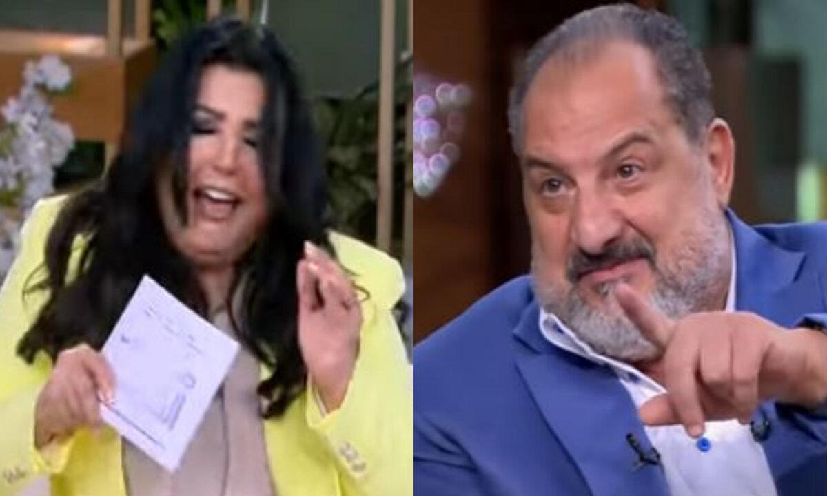 خالد الصاوي يحرج منى الشاذلي بمزحة مفاجأة على الهواء مباشرة (فيديو)