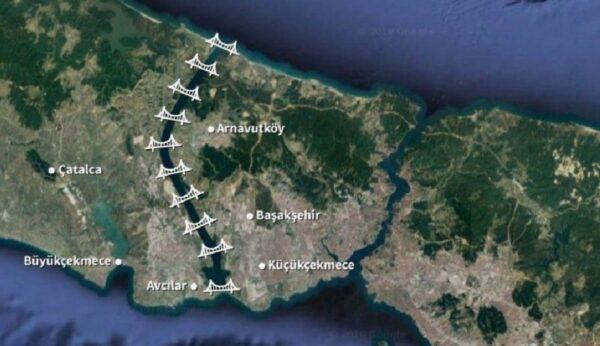 صورة لقناة إسطنبول وشكل الجسور التي ستبنى عليها (إنترنت)