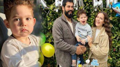 Photo of بطل مسلسل المؤسس عثمان بوراك أوزتشيفيت يحتفل بميلاد زوجته فخرية أوجن بصورة عائلية