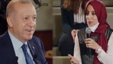 Photo of سؤال شخصي طريف من شابة تركية يضحك الرئيس أردوغان (فيديو)