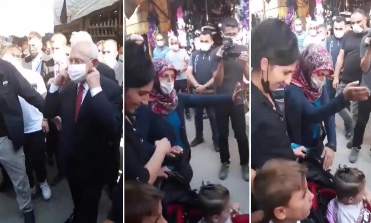 """سيدة تركية تحرج زعيم المعارضة أمام الصحفيين:""""لاتلمس طفلي وارحل من هنا"""" (فيديو)"""